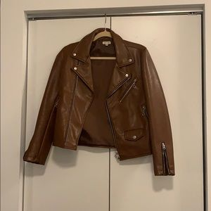 Faux Brown Leather Jacket - Silence + Noise